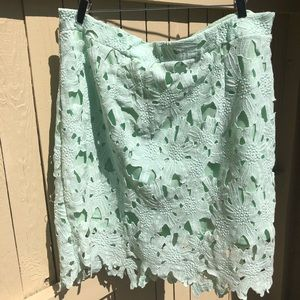 Mint Skirt with Beautiful Overlay